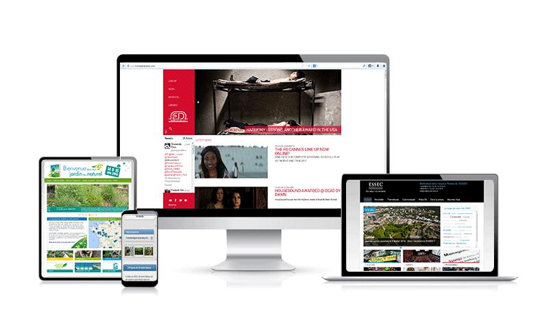 Sites générés avec PR•ROOMS Media Center sur différents types d'écrans