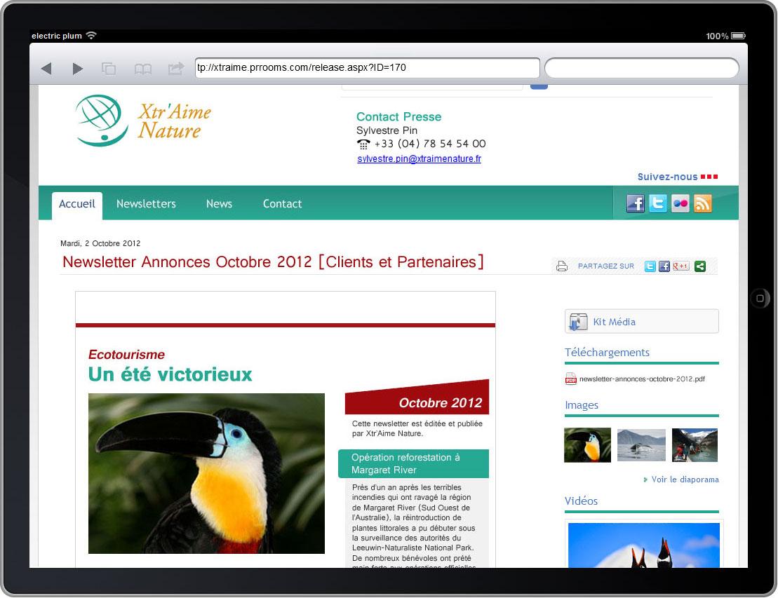 Newsletter sur iPad. Cliquer pour agrandir